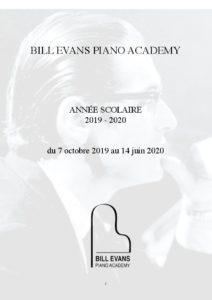 Brochure de l'école Bill Evans Piano Academy année 2019-2020 (couverture)